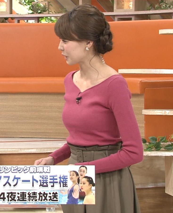 宮澤智アナ ニットおっぱい強調