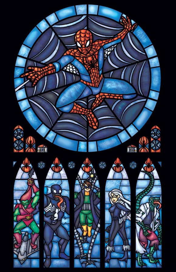 Iconic-Stained-Glass-Spiderman-600x926