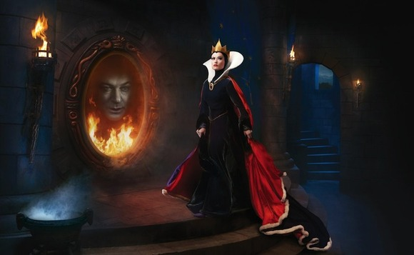 Olivia Wilde and Alec Baldwin as the Evil Queen and Magic Mirror