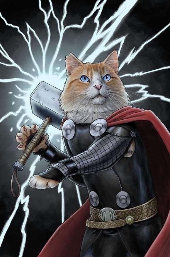 Thor-superhero-cats-jenny-parks-600x904