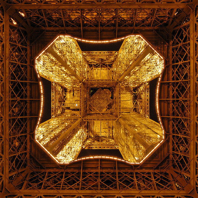 eiffel tower metal frame close up 2