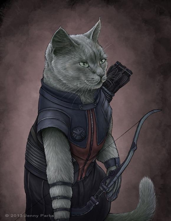 hawkeye-superhero-cats-jenny-parks-600x776