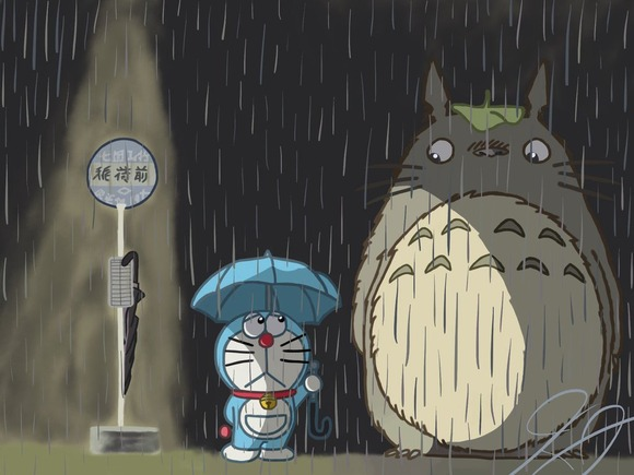 doraemon_and_totoro_by_cadpig101-d7tt48v