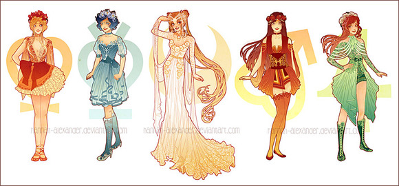 ailor Venus, Mercury, Moon, Mars & Jupite