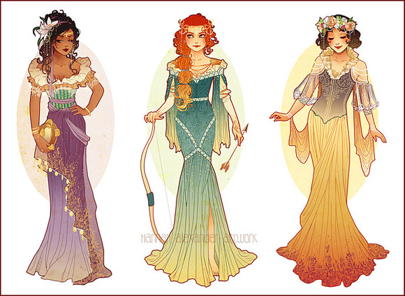 Esmerelda, Merida & Snow White