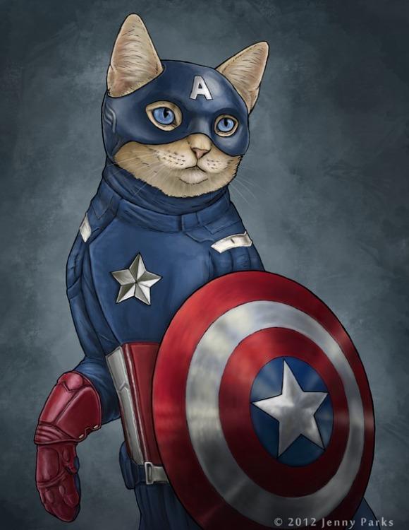 captain-america-superhero-cats-jenny-parks-600x776