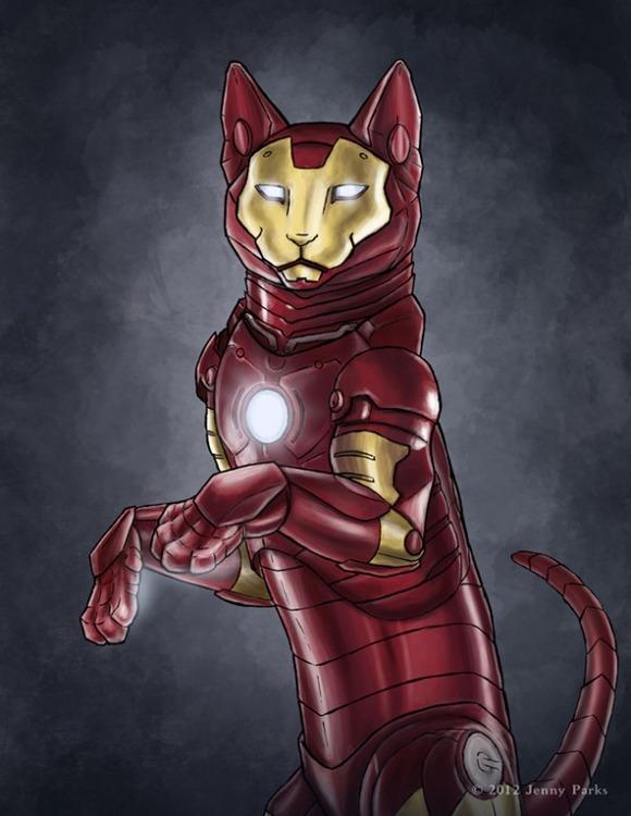 iron-man-superhero-cats-jenny-parks-600x776