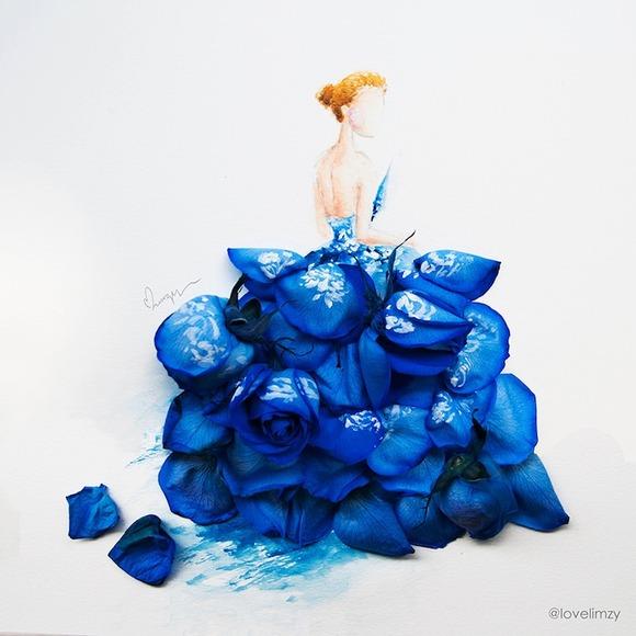 淡い水彩絵の具で描かれた人物像と花びらの立体感がドレスの膨らみが重なり合うことで、ファッショナブルで自然色が美しく、そして斬新に思えるフラワーアレンジメント