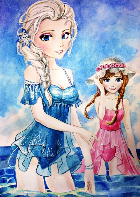 elsa_and_anna_swimsuit_by_analibi-d7ob834