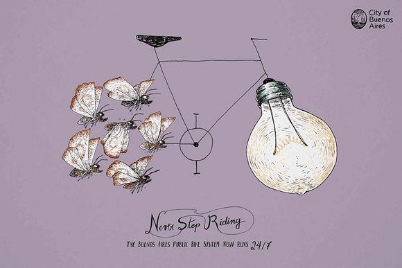 ... 自転車シェアリングの広告が