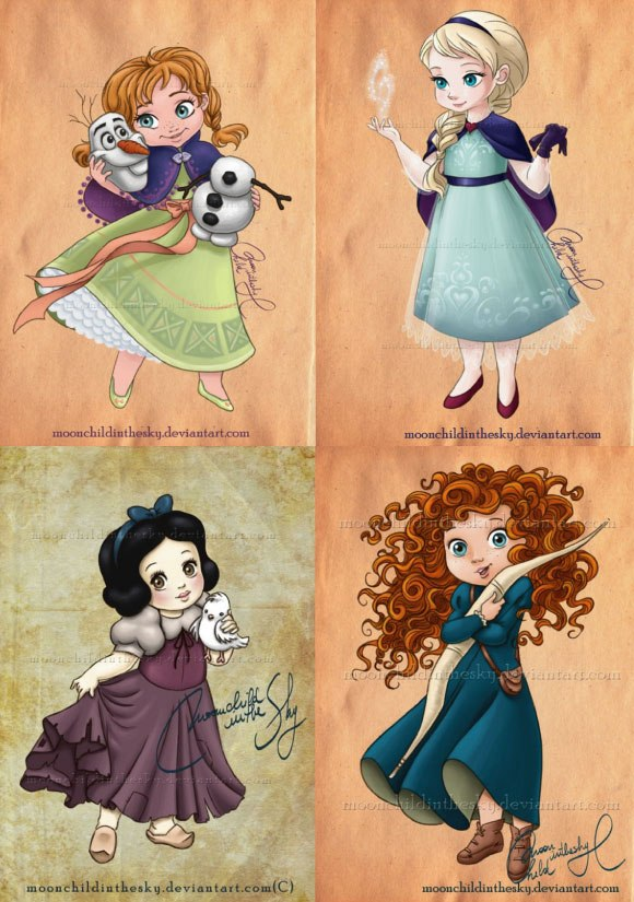 ディズニー・プリンセスたちの「ちびっ子」イラストレーション