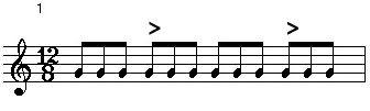 1-12/8拍子スローブルースリズムパターン