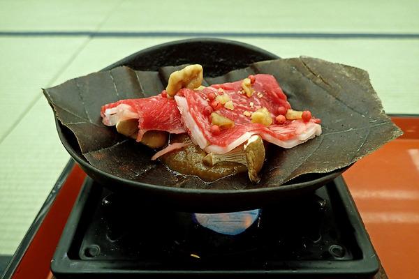 12強肴 和牛の朴葉味噌焼きP4160863