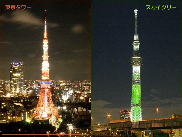 東京タワーとスカイツリーの写真