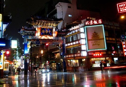 雨の中華街 朝陽門