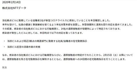 NTTデータコロナ感染者画像