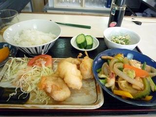 鶏のから揚げと野菜炒めの定食