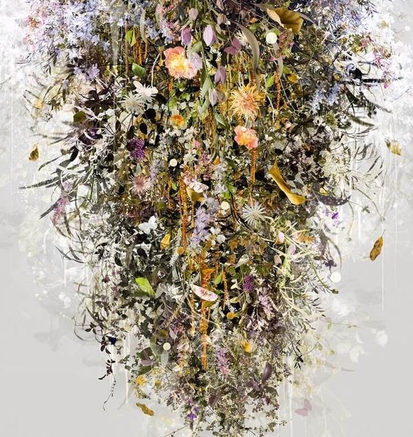 木々や花々を組み合わせて作られたコラージュ画像 (10)