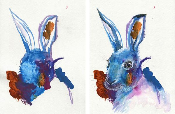 コラボレーション!子供の落書きとママが描く水彩画 (1)