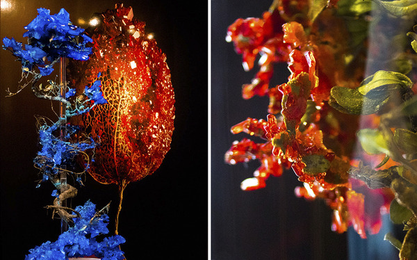 花と結晶。植物と鉱石を融合した芸術作品 (2)