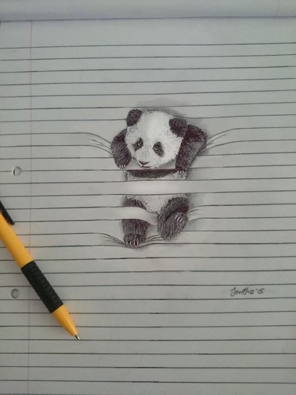 紙から飛び出る!ノートの横線で遊ぶキュートな動物のイラスト (1)