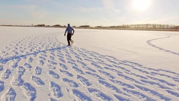 ロシアの雪原に巨大な竜の地上絵が現る!雪を踏んで描かれた竜 (2)
