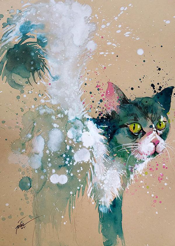 飛散する色彩と水滴!カラフルで可愛い小動物の水彩画 (5)