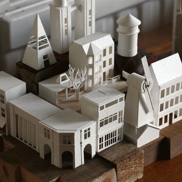 水彩紙で作る小さな建築物。365個の毎日ジオラマプロジェクト (1)