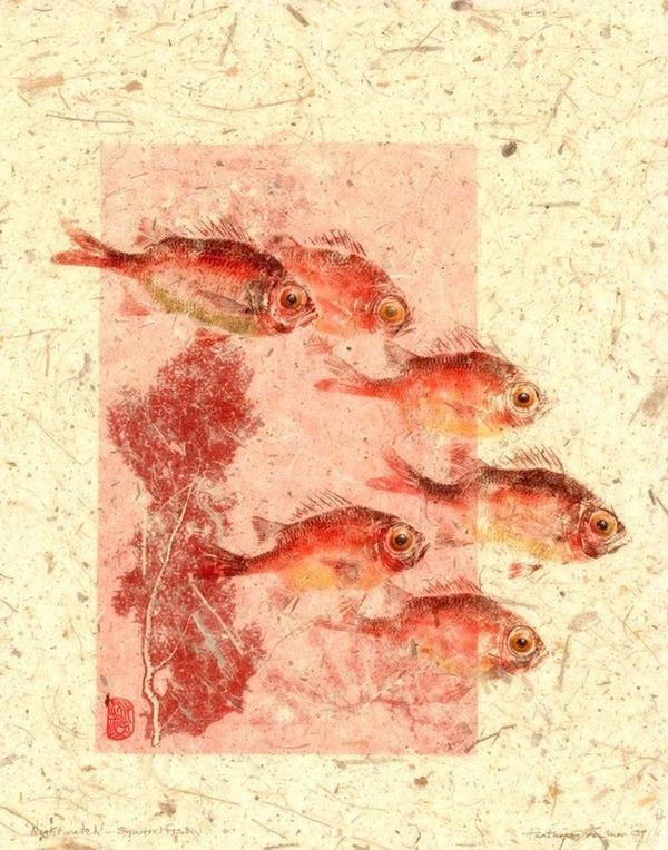 日本文化『魚拓』で描かれる海外アーティストによる絵画作品 (6)
