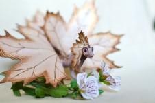 木の葉のドラゴン!童話的な小さなドラゴン彫刻