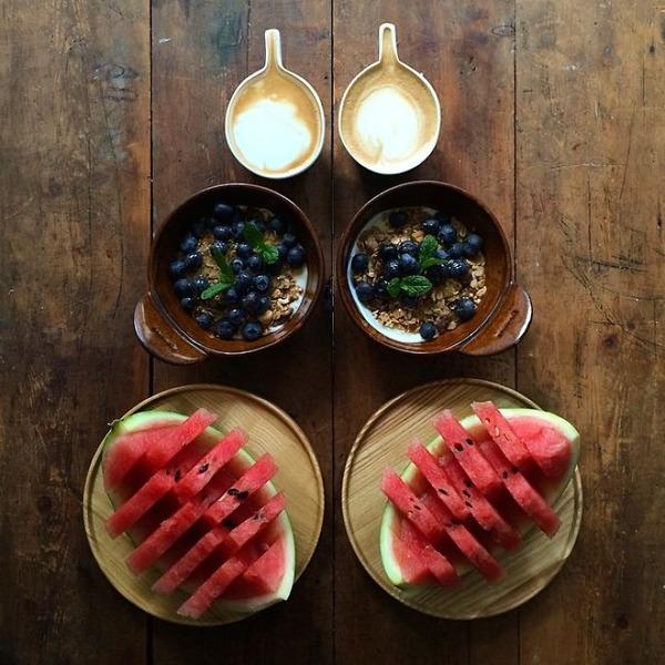 美味しさ2倍!毎日シンメトリーな朝食写真シリーズ (57)
