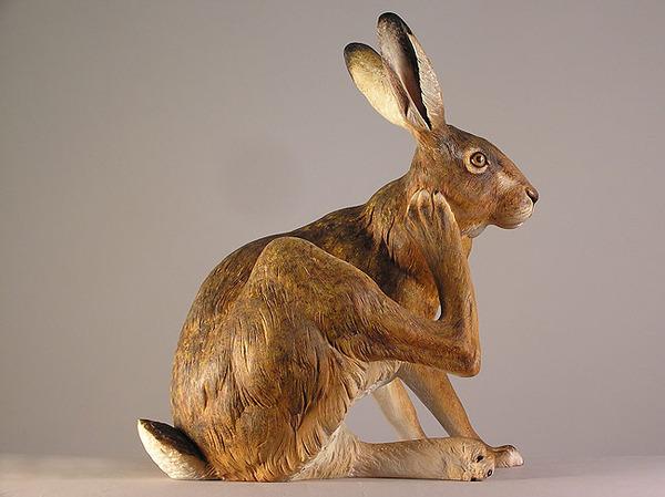 生き生きとした躍動感!野生動物の木彫りの彫刻作品 (15)