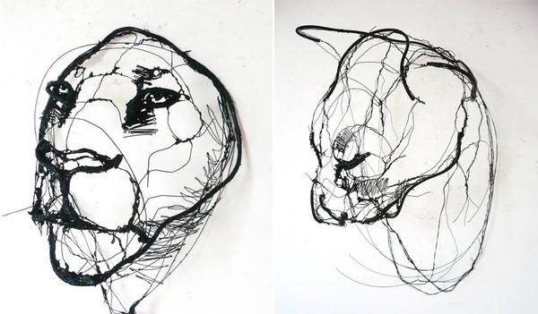 クロッキーみたい!ワイヤーをねじって描写される動物彫刻 (4)