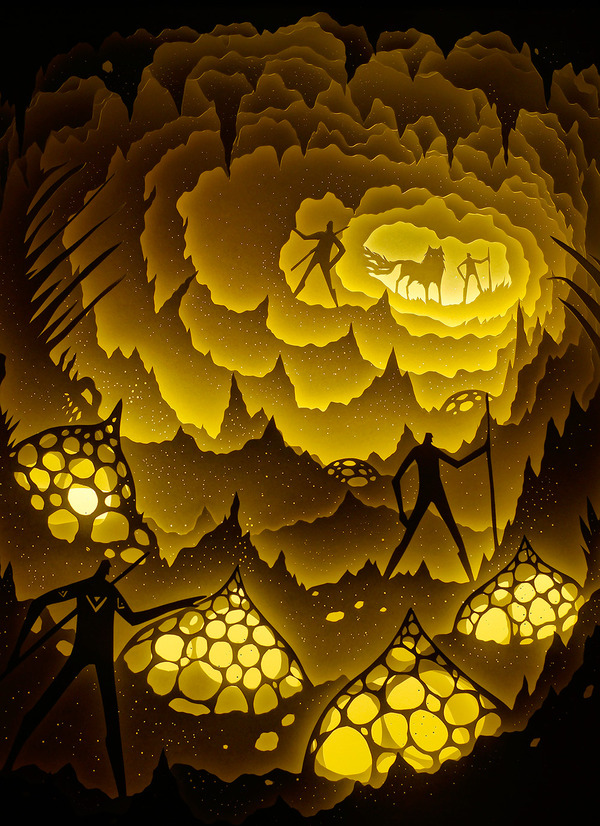 紙のジオラマ!幻想的な架空世界を描くペーパーアート (13)