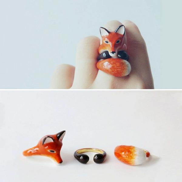 三つで一つの動物指輪。かわいいアニマルリング! (11)