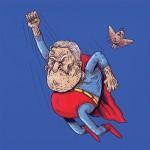 老いには勝てぬ…!スーパーヒーローがご老人になっちゃったイラスト