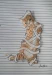 ノートの横線で遊ぶキュートな動物のイラスト