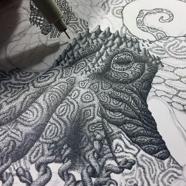ひたすらに点を打って描く!超繊細な手描きドット絵 (2)