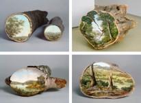 木の断面にアメリカの自然風景を描いた「ログシリーズ」