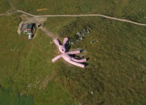 超シュール。空から落ちてきたようなピンクの巨大なウサギ (6)