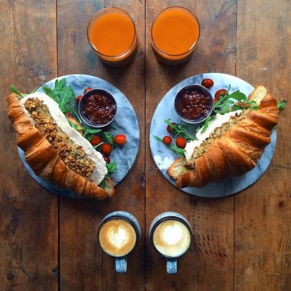 美味しさ2倍!毎日シンメトリーな朝食写真シリーズ (55)
