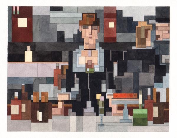 有名な絵画を図形で再構築して描いた彩画 (3)