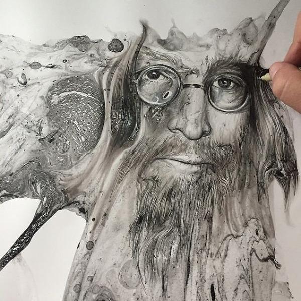 インクを注ぎ、飛び散らせてカオスなイラストレーションを描く (8)