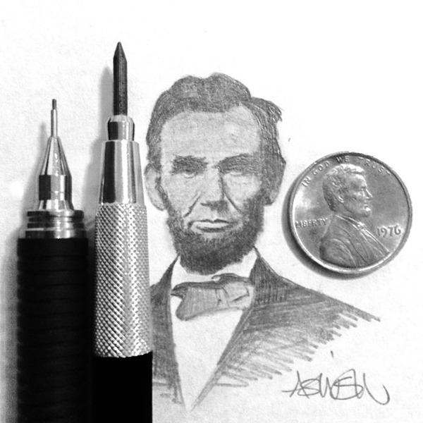 超小さいのに写実的!鉛筆の芯で描くミニチュア肖像画 (9)