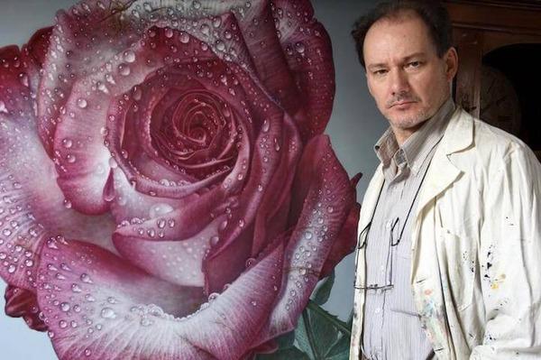 高精細!水滴をまとう写実的で美しいバラの花の油絵 (3)