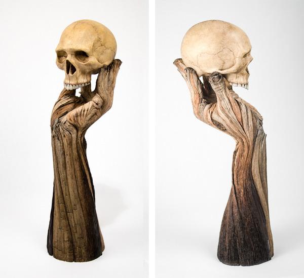 木材の彫刻のように見えるセラミック彫刻 (32)