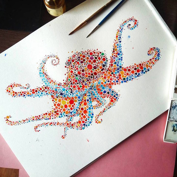 超カラフルな動物の水彩画!色とりどりの点によって描かれる (15)