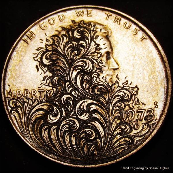 超繊細!コインに花の模様を彫る彫刻作品 (6)