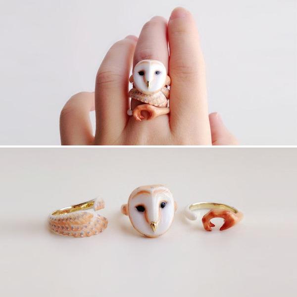 三つで一つの動物指輪。かわいいアニマルリング! (8)