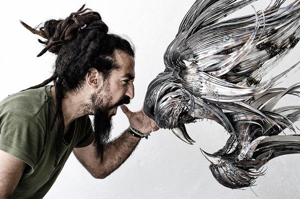虎(トラ)の金属彫刻 4